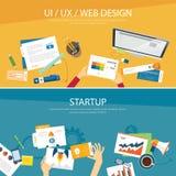 Дизайн веб-дизайна и концепции запуска плоский иллюстрация штока
