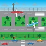 Дизайн вектора ландшафта авиапорта Стоковое Изображение RF