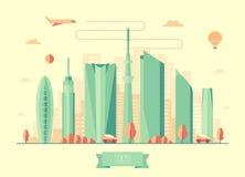 Дизайн вектора архитектуры горизонта токио Стоковое Изображение