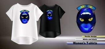 Дизайн вектора голубых губ печатает на футболке белых женщин бесплатная иллюстрация