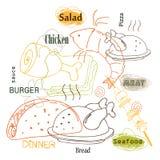 Дизайн вектора еды плана Стоковое Изображение