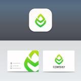 Дизайн вектора знака логотипа eco значка лист Minimalistic Стоковое Фото