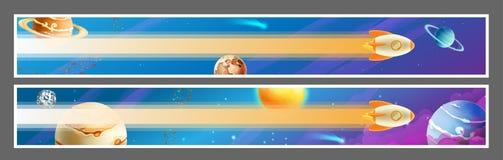 Дизайн вектора знамен космоса иллюстрация штока