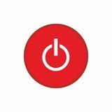 Дизайн вектора значка красной кнопки выключения Стоковая Фотография
