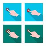 Дизайн вектора значка сенсорного экрана и руки Собрание сенсорного экрана и сокращенного названия выпуска акций касания для сети иллюстрация штока