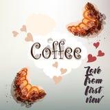 Дизайн вектора кофе с круассаном и сердцами Влюбленность от сперва Стоковое фото RF