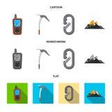 Дизайн вектора логотипа альпинизма и пика Комплект иллюстрации вектора запаса альпинизма и лагеря иллюстрация вектора