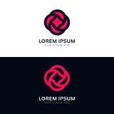 Дизайн вектора логотипа компании знака значка цветка Minimalistic розовый Стоковая Фотография RF