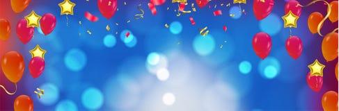 Дизайн вектора оформления с днем рождений для поздравительных открыток и плаката с воздушным шаром в стиле вырезов иллюстрация штока