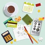 Дизайн вектора плоский Концепция работая процесса и рабочего места иллюстрация штока