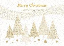 Дизайн вектора с Рождеством Христовым и счастливый Нового Года Горизонтальная карточка с золотом рождественских елок и белыми цве Стоковые Изображения