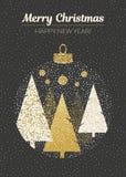 Дизайн вектора с Рождеством Христовым и счастливый Нового Года Вертикальная карточка с рождественскими елками в шарике на черной  Стоковое Фото