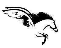 Дизайн вектора черноты лошади Пегаса иллюстрация вектора
