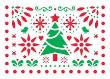 Дизайн вектора Papel Picado веселого рождества, картина украшения поздравительной открытки Xmas мексиканца, красного цвета и бело бесплатная иллюстрация