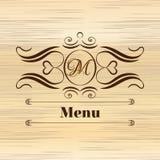Дизайн вензеля каллиграфии флористический, винтажный логотип картины Стоковая Фотография