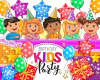 Дизайн вечеринки по случаю дня рождения детей иллюстрация штока