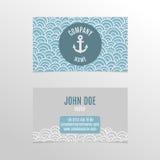 Дизайн визитной карточки с волнами и анкером doodle Стоковое фото RF