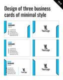 Дизайн 3 визитных карточек минимального стиля Стоковые Изображения