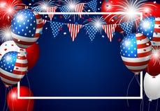 Дизайн воздушного шара США вектора американского флага с фейерверком иллюстрация вектора