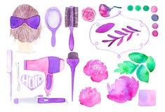 Дизайн волос и флористическое оформление Комплект нарисованный рукой  Стоковые Изображения