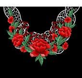 Дизайн вышивки вектора с цветками и шнурком для воротника Стоковые Фото