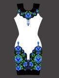 Дизайн вышивки для платья в японском стиле также вектор иллюстрации притяжки corel Стоковая Фотография