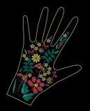 Дизайн вышивки стежком сатинировки с красочными цветками Фольклорная линия флористическая ультрамодная картина на оформлении перч Стоковое Изображение RF