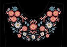 Дизайн вышивки стежком сатинировки с цветками Фольклорная линия флористическая ультрамодная картина для neckline платья Этническа Стоковая Фотография RF