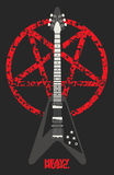 Дизайн гитары и пентаграммы иллюстрация штока