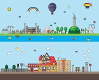 Дизайн города и деревни плоский Стоковые Изображения