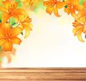 Дизайн границы цветков лилии лето сада цветков цветения Стоковые Изображения RF
