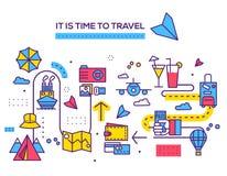 Дизайн деталей значков перемещения infographic Остатки каникул с любым комплектом элементов Отключение путешествия, иллюстрации п иллюстрация штока