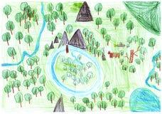 Дизайн дня земли в детях рисуя стиль Стоковые Изображения RF
