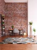 Дизайн домашнего офиса, современная комната места для работы стоковые изображения rf