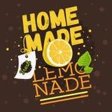 Дизайн домодельного лимонада типографский с ветвью мяты, Slic Стоковые Фото