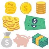 Дизайн денег плоский Стоковое Изображение RF
