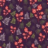 Дизайн леса вектора, флористическая безшовная картина с ягодой и лист в ребяческом стиле Иллюстрация вектора