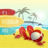 Дизайн летних каникулов, иллюстрация вектора Стоковое Изображение RF