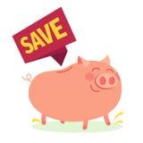 Дизайн дела Очень свинья денег наслаждения над белой предпосылкой также вектор иллюстрации притяжки corel Стоковая Фотография RF