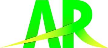 Дизайн желтого цвета зеленого цвета логотипа AR a r Стоковая Фотография