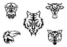Дизайн 5 животный голов Стоковое Изображение