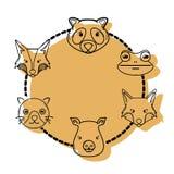 Дизайн животных wilds голов комплекта цвета милый Стоковые Изображения