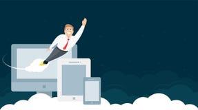 Дизайн заголовка вебсайта с бизнесменом и приборами бесплатная иллюстрация