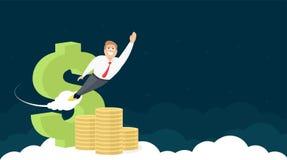 Дизайн заголовка вебсайта с знаком, золотом и бизнесменом доллара иллюстрация вектора