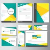 Дизайн зеленых желтых элементов Infographic шаблона карточки представления листовки рогульки брошюры дела плоский установил для м бесплатная иллюстрация