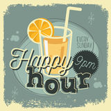 Дизайн знака плаката времени 50s счастливого часа новый винтажный с стеклом Стоковая Фотография