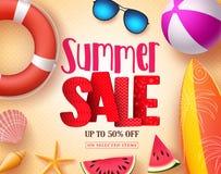 Дизайн знамени вектора продажи лета с красным текстом продажи 3D и красочными элементами пляжа Стоковое Фото