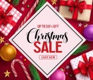 Дизайн знамени вектора продажи рождества с текстом скидки продажи в белом космосе бесплатная иллюстрация