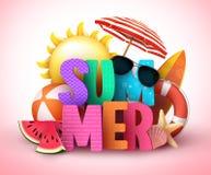 Дизайн знамени вектора текста лета 3d с красочным названием и реалистическими тропическими элементами пляжа иллюстрация вектора