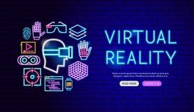 Дизайн знамени виртуальной реальности неоновый иллюстрация штока